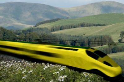 VISIONARY: An artist's impression of what a next-generation train would look like on a high-speed rail route linking Scotland with England.