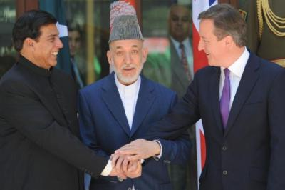 united FRONT: David Cameron with, from left, Pakistan Prime Minister Raja Pervaiz Ashraf and Afghanistan president Hamid Karzai in Kabul.
