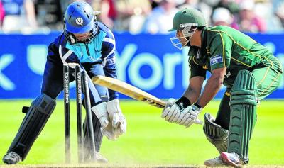 Samit Patel is bowled by Gordon Goudie after making 82 off 76 balls. Picture: Donald MacLeod
