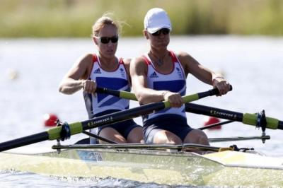 Helen Glover and Heather Stanning on the way to winning their heat   Photograph: Reuters