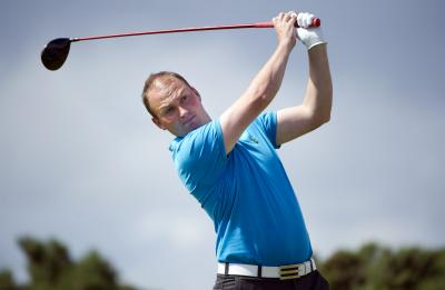 Matthew Clark at Royal Dornoch yesterday on his way to a one-hole victory over John Mathers. Picture: Kenny Smith