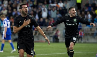 Joe Ledley bundled in Celtic's first goal to edge Celtic closer to the group stages. Picture: SNS