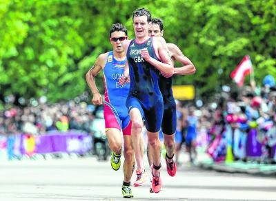 London crowds cheered equally for Spain's Javier Gomes although he split Yorkshire's Brownlee brothers in the triathalon medals. Picture: Getty