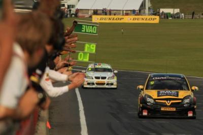 Fans stay to cheer Dave Newsham as he wins at Snetterton last weekend   Photograph: BTCC.NET