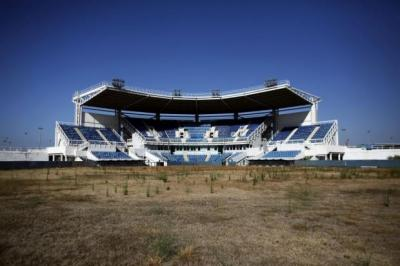 The Olympic softball venue sits abandoned in Athens   Photograph: AFP/Getty