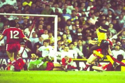 Michael Thomas scores against Liverpool in the final game of the 1988/89 season to help seal the title for Arsenal    Photograph: Getty