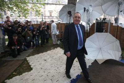 QUESTION TIME: Alex Salmond took time out from the debate yesterday to visit the Edinburgh International Book Festival. Picture: Gordon Terris