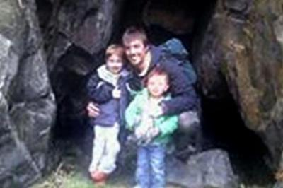 TRAGEDY: Brothers Ewen, five, and Jamie, two, with their father Ewen.