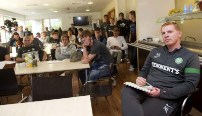 Neil Lennon and his players watched the draw at Lennoxtown