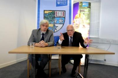PROUD: Professor Rolf Heuer and Professor Peter Higgs discussed their work and the recent discovery.