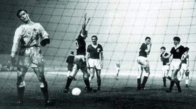 Scotland's Denis Law celebrates scoring  against Northern Ireland in 1962, one of 30  goals for his country. Picture: Herald Archive