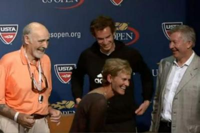 BIZARRE: Andy Murray was interrupted by mother Judy, Sean Connery and Alex Ferguson..