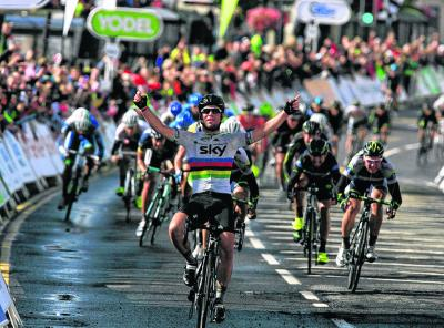 Mark Cavendish crosses the finishing line in Dumfries. Picture:Steve Cox