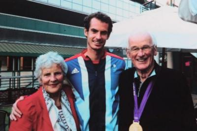 BACKING: Andy Murray's grandparents Shirley and Roy Erskine, below, led the praise in Dunblane where local children and businesses also got behind the star.