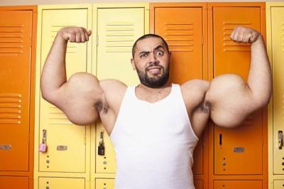 FAMOUS: Moustafa Ismael is recognised for having the largest biceps and triceps; Zeus is the tallest dog, a Great Dane measuring 44in from foot to withers; while Archie is the world's shortest bull. Pictures: PA