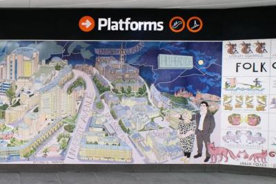 Underground artist gray unveils panoramic mural in subway for Alasdair gray hillhead mural