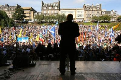 Alex Salmond addresses the crowd
