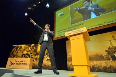 FAIRNESS AGENDA: Deputy Prime Minister Nick Clegg told party conference delegates he wanted to start rebalancing the economy from the top, not the bottom. Picture: Getty Images