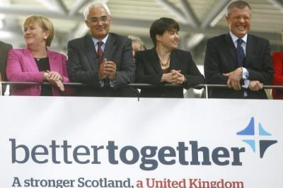 From left: Johann Lamont, Alistair Darling, Ruth Davidson and Willie Rennie at the launch of the Better Together campaign.