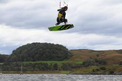 FLYING HIGH: Top kitesurfers made good use of the windy weather in Oban. Picture:  Ian Edmondson/www.expix.co.uk