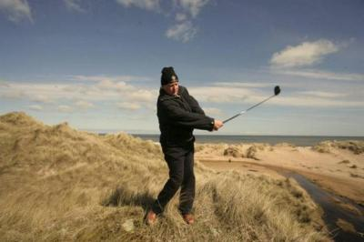 Donald Trump at the site of his golf course resort at Balmedie in Aberdeenshire, which prompted widespread opposition. The US tycoon is now embroiled in a similar fight in the US