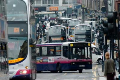 FUMING: Buses contribute to Hope Street, in Glasgow, achieving the distinction of being the most polluted place in Scotland. Picture: Nick Ponty