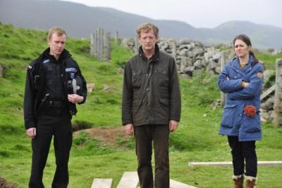 Shetland stars Steven Robertson, Douglas Henshall and Alison O'Donnell. Photograph: Neil Davidson