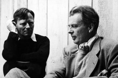 Above, Evelyn Waugh satirised Hollywood while living there; a still from the recent film of Christopher Isherwood's A Single Man. Right, Isherwood (on the left) with Aldous Huxley, who both eventually settled in Los AngelesMain photograph: Getty Images