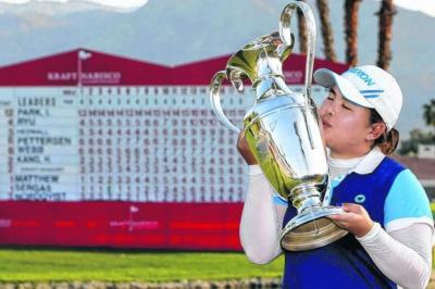 Park Inbee, pictured after her victory  in the Kraft Nabisco Championship last April, added to the excitement of the LPGA Tour by winning a trio of majors.  Picture: Danny Moloshok/Reuters