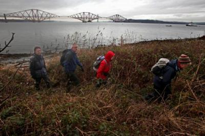 ON THE WAY: Walkers on the Shore path near South Queensferry, which will become part of the John Muir way from Dunbar to Helensburgh.