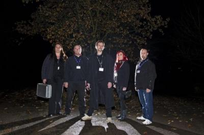 From left: Janice Murdoch-Richards, the co-founder of Lanarkshire Paranormal, with group members Alex Kelly, Steff Murdoch-Richards, Debra Murdoch and Mark Adams. Photograph: Jamie Simpson