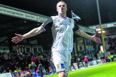 Marley Watkins reacts after putting Inverness Caledonian Thistle three goals ahead. Picture: SNS