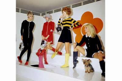 Models and a Yorkshire Terrier presenting creations by the designer Mary Quant