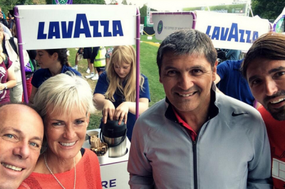 Judy Murray hands out coffees to waiting Wimbledon fans with Rafa Nadal's uncle Toni and former Wimbledon champion Goran Ivanisevic