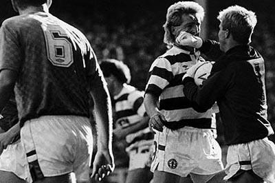 McAvennie and Woods were both sent off after clashing during the match