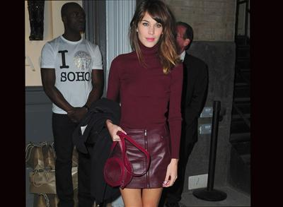 Alexa Chung colour-blocking in burgundy Versus