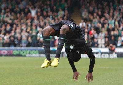 Efe Ambrose celebrates scoring