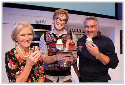 James with GBBO judges Mary Berry and Paul Hollywood