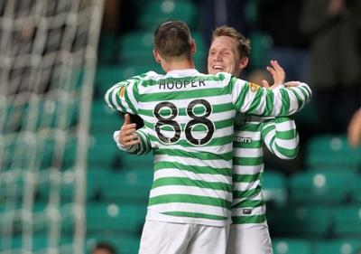Gary Hooper celebrates the third goal with Kris Commons