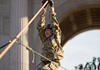 Lorraine Kelly braves the zip line from Wellington Arch in Central London