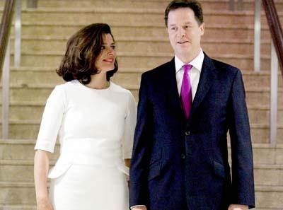 Miriam Clegg with husband Nick Clegg in the £390 Henrietta Ludgate dress