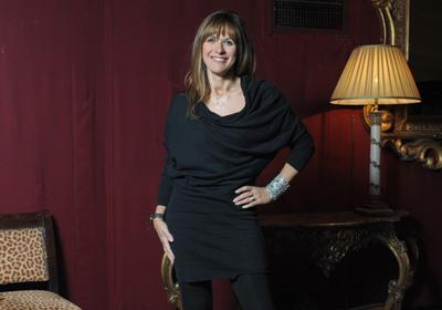 Carol Smillie went for comfort and warmth with a knitted All Saints dress, fleecy tights and boots.