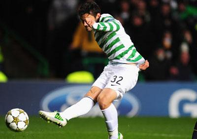 Tony Watt scores the decisive second goal for Celtic in last week's Champions League win over Barcelona